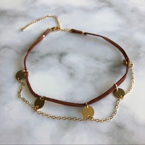 A. Marie Sasha Brown Suede and Gold Choker